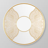 Vector gold decorative plate. Stock Photography
