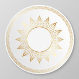 Vector gold decorative plate. Stock Images