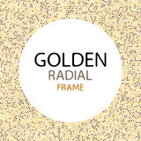 Vector gold disco lights frame or spangles round frame with empty center for text.  Stock Image