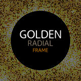 Vector gold disco lights frame or spangles round frame with empty center for text.  Royalty Free Stock Photo