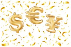 Vector Gold dollar euro yen symbol alphabet balloons, money and currency, Golden confetti number and letter balloon Stock Photos