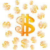 Vector gold dollar symbol Royalty Free Stock Photos