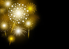 Vector gold firework design on black background. With copy space Royalty Free Stock Photography