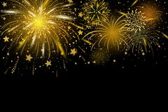 Vector gold fireworks on black background. With copy space Stock Photos