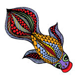 Vector Gold Fish. Zentangle vector Gold Fish for tattoo in boho, hipster style. Ornamental tribal patterned illustration for adult anti stress coloring pages Royalty Free Stock Photo