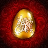 Vector Gold Foil Happy Easter Greeting golden Egg Card. red Background. Joyful wishes, holiday greetings. Art Royalty Free Stock Photos