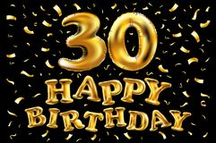 Vector gold foil 30th birthday. Calligraphy lettering. Vector happy birthday 30rd celebration gold balloons and golden confetti glitters. 3d Illustration design Stock Photography