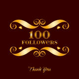 Vector gold 100 followers badge over brown. Easy use and recolor elements for your design royalty free illustration