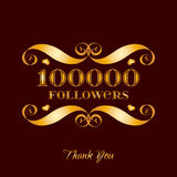 Vector gold 100000 followers badge over brown Stock Image