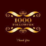 Vector gold 1000 followers badge over brown. Easy use and recolor elements for your design Royalty Free Stock Photography