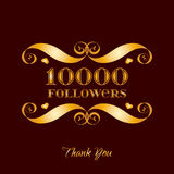 Vector gold 10000 followers badge over brown. Easy use and recolor elements for your design Royalty Free Stock Photos