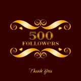 Vector gold 500 followers badge over brown. Easy use and recolor elements for your design royalty free illustration
