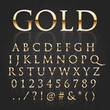 Vector gold font. Vector illustration of a golden alphabet Stock Photography