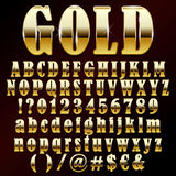 Vector gold font. Vector illustration of a gold metal alphabet Royalty Free Stock Photography