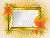 Vector gold frame with Autumn Leafs. Thanksgiving Stock Photo