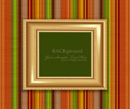Vector gold frame on the striped wall Stock Image