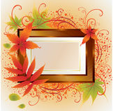 Vector Gold Frame With Autumn Leafs. Thanksgiving Royalty Free Stock Photography
