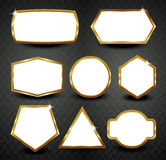 Vector gold frames  on black background Royalty Free Stock Image