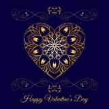 Vector Gold Fretwork Floral Heart Over Blue. Happy Valentines Day Holiday Stock Images