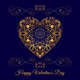Vector Gold Fretwork Floral Heart Over Blue. Happy Valentines Day Holiday Royalty Free Stock Photo