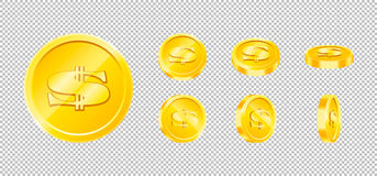Vector gold game coin set isolated. Design templates in Eps10. Royalty Free Stock Images