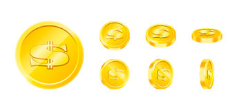Vector gold game coin set isolated. Design templates in Eps10. Stock Image