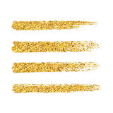 Vector gold glitter brush strokes set isolated at white backgrou Stock Photography