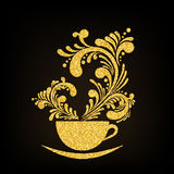 Vector Gold Glitter Cup of Coffee with Floral Stock Photography