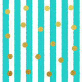 Vector Gold glitter dots seamless pattern with stripe background Stock Images
