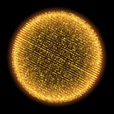Vector gold glitter fractal particle sparks sphere. Vector gold glitter fractal sparks sphere shining design. 3D illuminated sparkling sphere of glowing Stock Photo