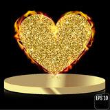 Vector gold glitter heart on pedestal. Gold heart in fire. Love. Concept card background Stock Photo