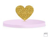 Vector gold glitter heart on pedestal. Love concept card backgro Stock Photo