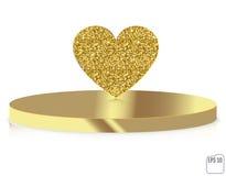 Vector gold glitter heart on pedestal. Love concept card backgro Stock Photos