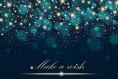 Vector gold glitter particles background effect for luxury greeting rich card. Sparkling texture. Star dust sparks in explosion on blue background. Vector Stock Photography