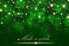 Vector gold glitter particles background effect for luxury greeting rich card. Sparkling texture. Star dust sparks in explosion on green background. Vector Stock Image
