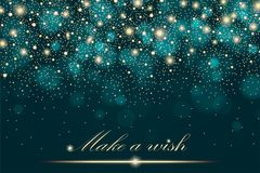 Vector gold glitter particles background effect for luxury greeting rich card. Sparkling texture. Star dust sparks in explosion. On turquoise background. Vector Royalty Free Stock Images