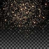 Vector gold glitter particles background effect for luxury greeting rich card. Sparkling texture. Stock Image
