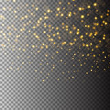 Vector gold glitter particles background effect for luxury greeting rich card. Sparkling texture. Star dust sparks in Stock Photos