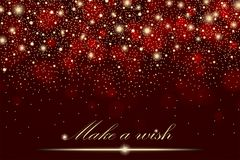 Vector gold glitter particles background effect for luxury greeting rich card. Sparkling texture. Star dust sparks in explosion on red background. Vector Stock Image