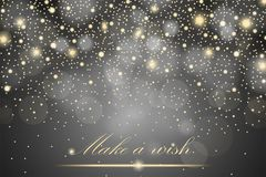 Vector gold glitter particles background effect for luxury greeting rich card. Sparkling texture. Star dust sparks in explosion on grey background. Vector Stock Photos