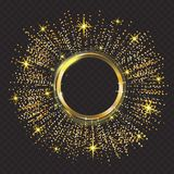 Vector gold glitter particles background effect.Sparkling texture. Abstract background, golden sparkles on black royalty free illustration
