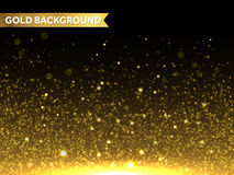 Vector gold glitter particles background. Sparkling star texture. Stock Photo