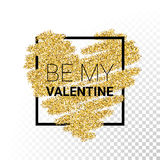 Vector gold glitter particles heart Stock Photo