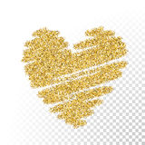 Vector gold glitter particles heart Royalty Free Stock Image