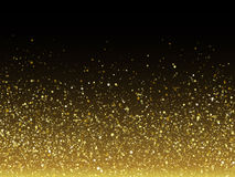 Vector gold glitter particles with sparkling star texture. Royalty Free Stock Image