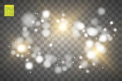 Vector gold glitter wave illustration. Gold star dust trail sparkling particles isolated on transparent background. Magic concept Royalty Free Stock Photography
