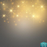 Vector gold glitter wave illustration. Gold star dust trail sparkling particles  on transparent background. Magic concept Royalty Free Stock Photo