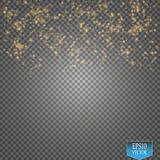 Vector gold glitter wave illustration. Gold star dust trail sparkling particles on transparent background. Magic concept stock illustration