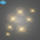 Vector gold glitter wave illustration. Gold star dust trail sparkling particles  on transparent background. Magic concept Stock Photo