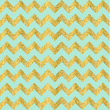 Vector Gold glittering heart seamless pattern. Vector Gold glittering confetti seamless pattern on chevron background. gold and turquoise Royalty Free Stock Images